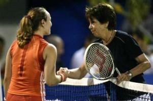 Maria Bueno hit with Martina Hingis in Rio de Janeiro in December 2005