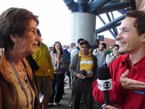 Maria Bueno and Marcos Perez teamed up for SporTV at the US Open 2004