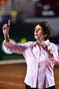 Maria Bueno steps onto stadium court in Rio