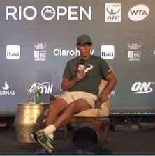 Rafa Nadal talks to the media