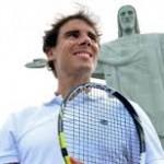 Rafa Nadal under the Statue of Christ in Rio