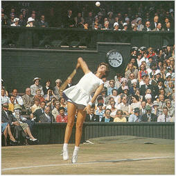 Maria Bueno serves on Centre Court