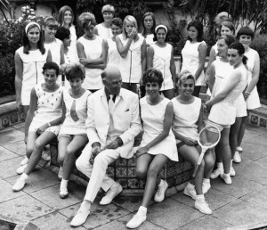 Teddy Tinling Surrounded by Tennis Stars Modelling his Designs, 1967