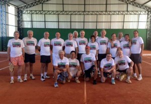 The 'Cave Men' who spent the weekend playing tennis watched by Maria