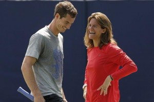 Andy Murray and Amelie Mauresmo share a laugh at Queen's in preparation for his grass court campaign
