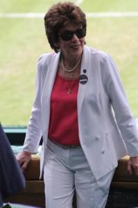 Maria Bueno looks back from the Royal Box at Wimbledon