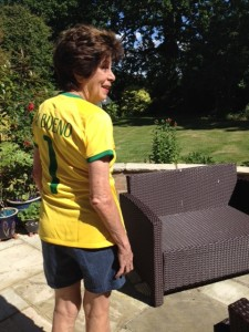 Maria is number one wearing the Brazilian World Cup national football shirt