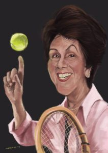 The latest caricature of Maria Esther Bueno sketched by Leandro Capanema