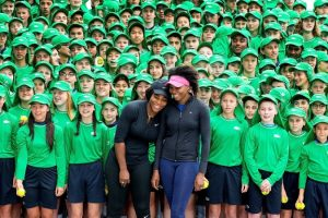 Venus and Serena with the Australian Open ball kids