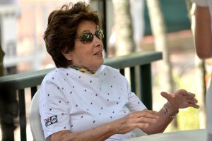 Maria Esther Bueno gives an interview at the Rio Open